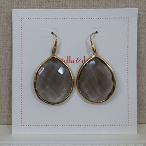 Stella & Dot Serenity Stone Earrings Smoky